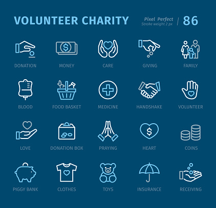 Volunteer Charity - Outline icons with captions