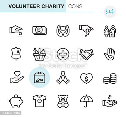 20 Outline Style - Black line - Pixel Perfect icons / Volunteer Charity Set #94 Icons are designed in 48x48pх square, outline stroke 2px.  First row of outline icons contains:  Giving Money, Money Donation, Heart in Human hands, Hand Giving Coins, Family;  Second row contains:  Blood Donation Bag,  Basket of Food, Medical Cross, Handshake, Volunteer;  Third row contains:  Heart in Human hand, Donation Box, Praying, Charity Heart, Coins Stack;   Fourth row contains:  Piggy Bank, Clothes Donating, Toys Donating, Insurance, Receiving Hand.  Complete Primico collection - https://www.istockphoto.com/collaboration/boards/NQPVdXl6m0W6Zy5mWYkSyw