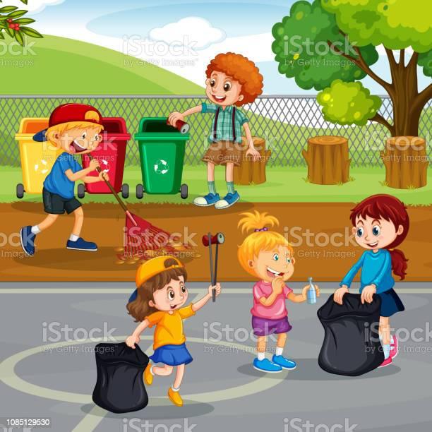Volunteer children cleaning park vector id1085129530?b=1&k=6&m=1085129530&s=612x612&h=m8o4fp2swp21 zu491nc2bd4vpzb0xkquauxzfycjh8=