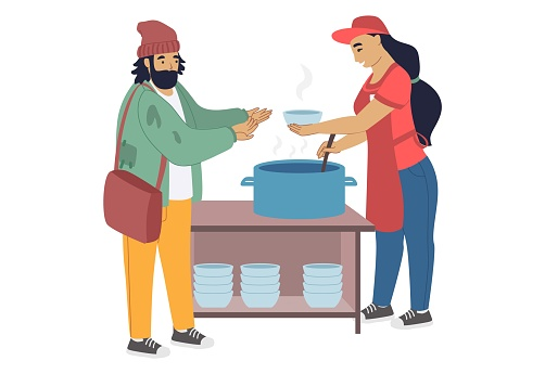 Female volunteer feeding homeless person, providing food assistance, flat vector illustration. Care for homeless, volunteering and charity.