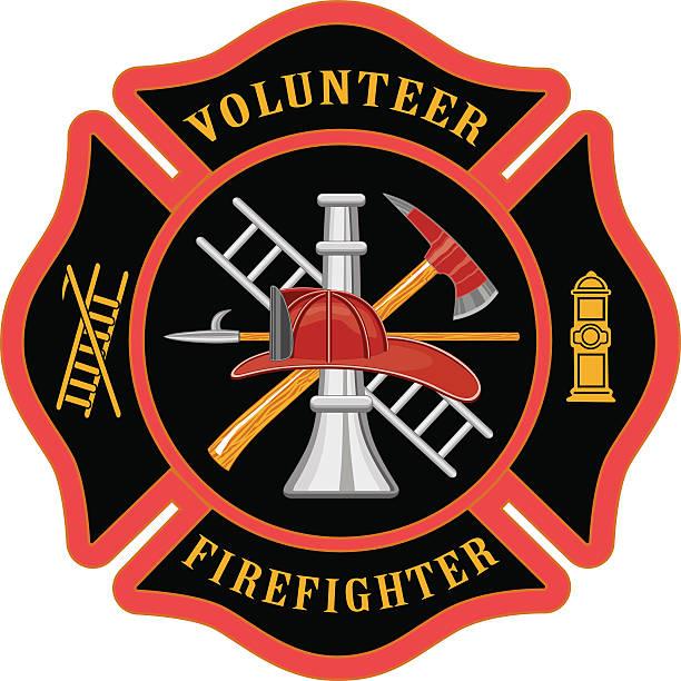 Volunteer Firefighter Maltese Cross Illustration of the firefighter or fire department Maltese cross symbol for volunteer firefighters. Includes firefighter tools symbol. fire station stock illustrations