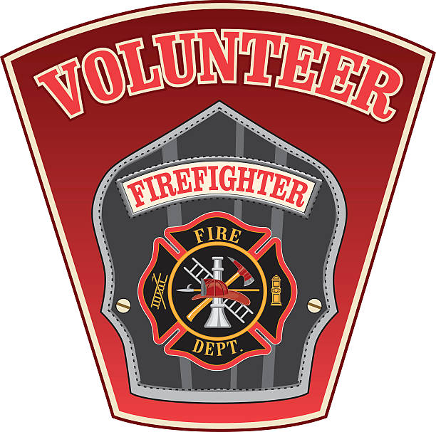 Volunteer Firefighter Shield Illustration of a firefighter or fireman badge with a Maltese cross and firefighter tools logo inside of a shield shape. maltese cross stock illustrations