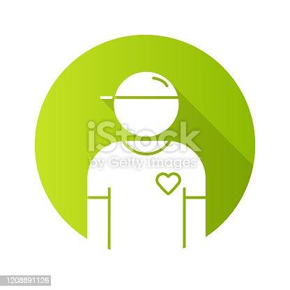 Ícone voluntário de design de sombra longa de glifo de sombra longa. Membro da organização de caridade. Seguidor de projetos sociais. Assistente de programa humanitário. Auxiliar de serviçocomunitário. Ilustração da silhueta vetorial