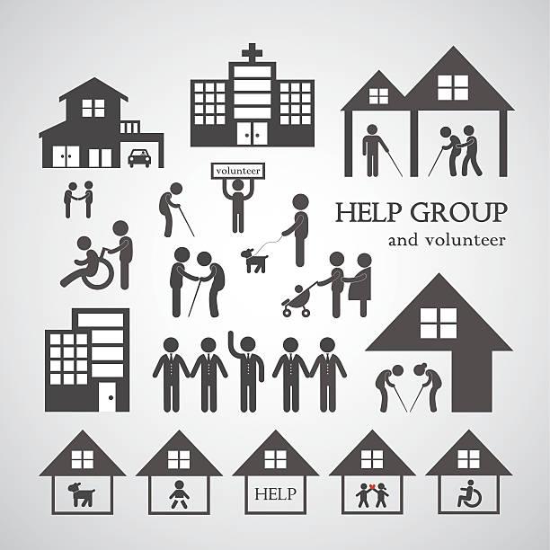 volunteer for non profit social service symbol volunteer for non profit social service symbol on gray background sheltering stock illustrations