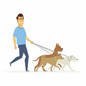 Volunteer helps to walk dogs - cartoon people characters isolated illustration on white background. Young smiling man with glasses goes with three pets on the leash, take care of them