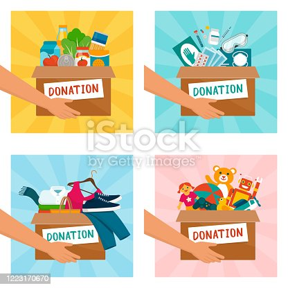 Volunteer holding donation boxes with food, medical equipment, clothing and toys