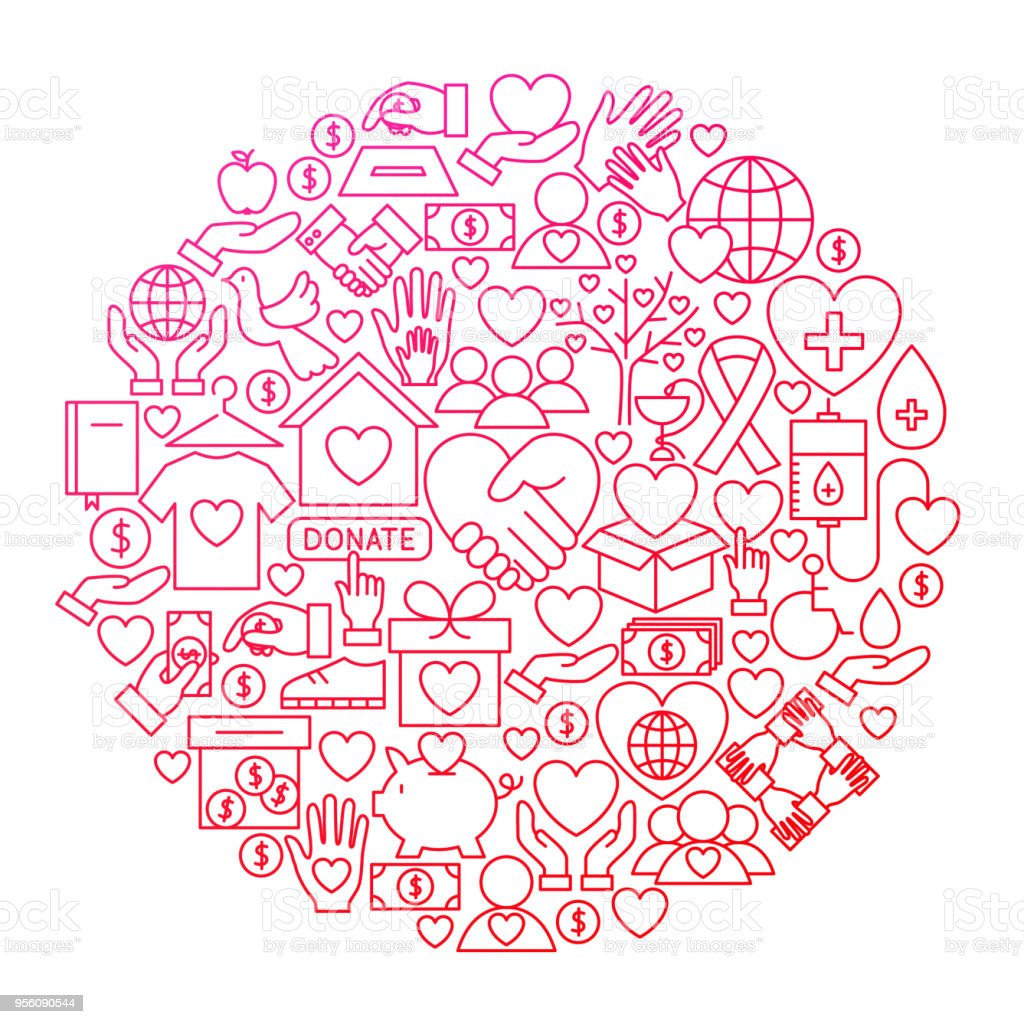 Volunteer Line Icon Circle Design vector art illustration