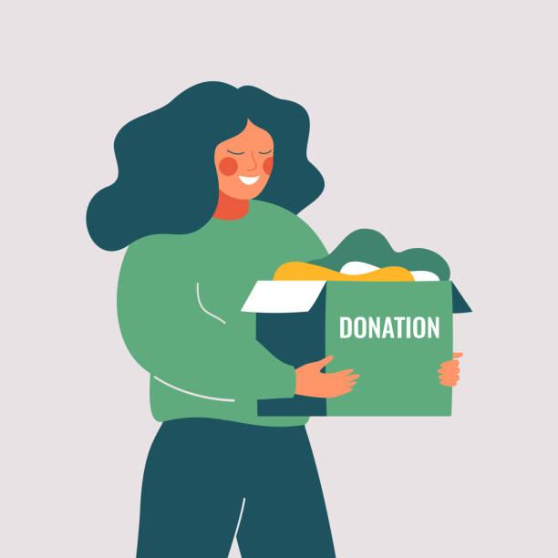 illustrazioni stock, clip art, cartoni animati e icone di tendenza di volunteer woman holds donation box with old used clothes ready to be donated or recycled. - solo una donna giovane