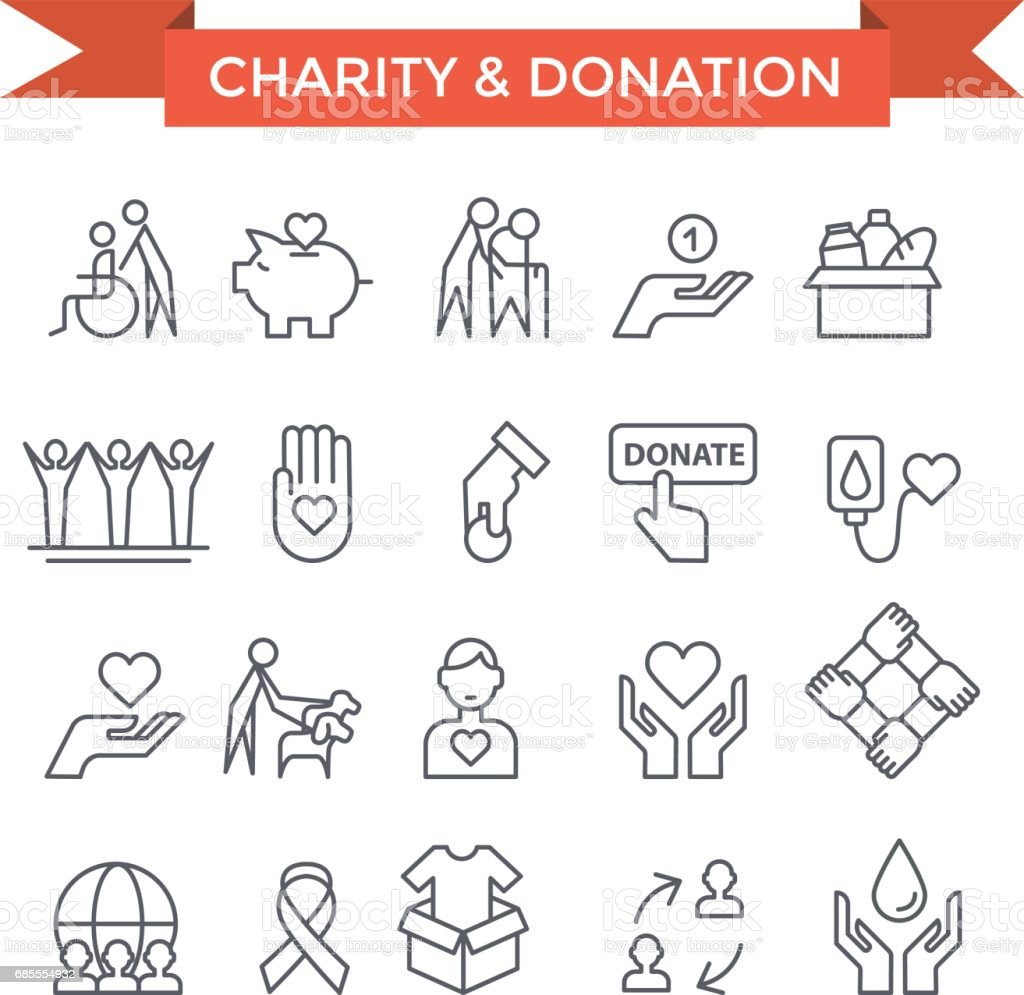 Volunteer work  icons. vector art illustration