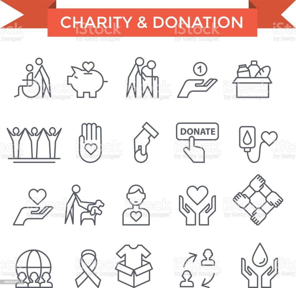 Iconos de trabajo voluntario. - ilustración de arte vectorial