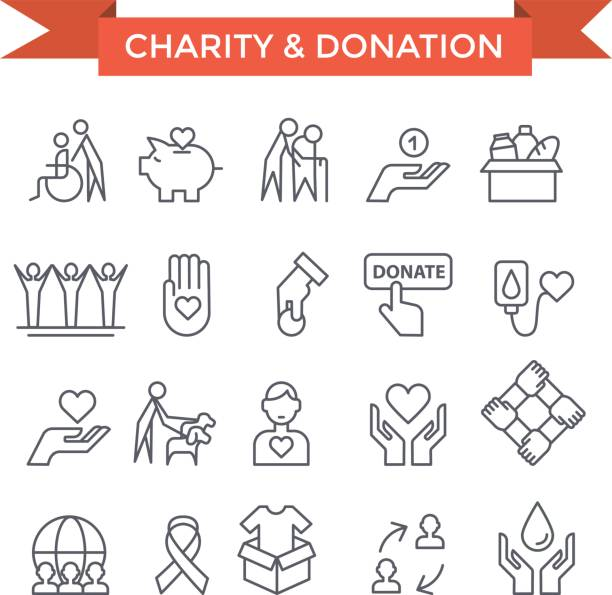 volunteer work  icons. - thin line icons stock illustrations, clip art, cartoons, & icons