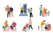 Volunteer, young people are taking care of seniors people. Seaing at home, walking, reading books, carriers the grocery, ride wheelchair. Vector flat cartoon illustration