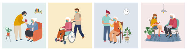 Volunteer, young people are taking care of seniors people. Seaing at home, walking, reading books, carriers the grocery, ride wheelchair. Vector flat cartoon illustration vector art illustration