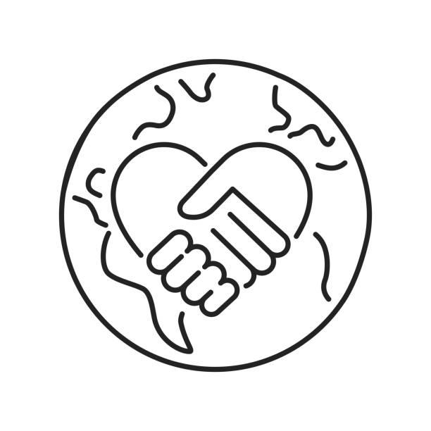 stockillustraties, clipart, cartoons en iconen met het pictogram van de zwarte lijn van het vrijwilliger is. non-profit gemeenschap. overzichtpictogram voor web-pagina, mobiele app, promo. - non profit