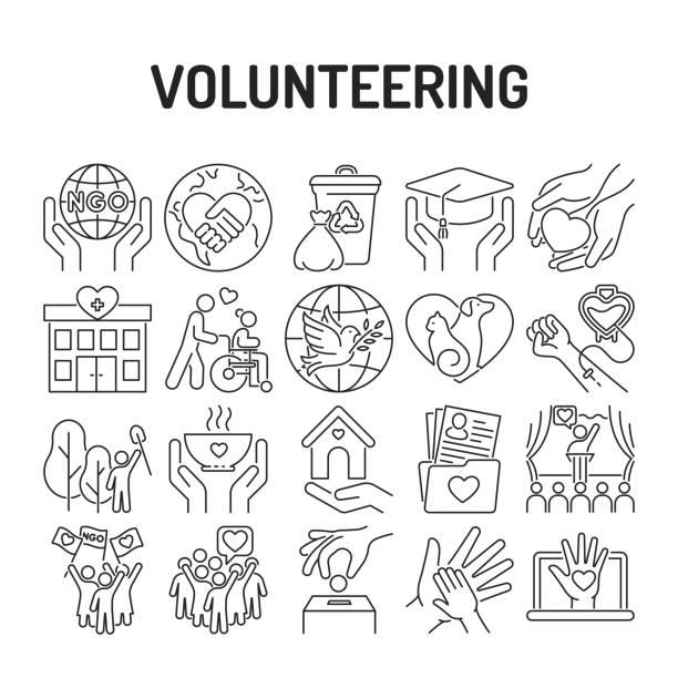 stockillustraties, clipart, cartoons en iconen met vrijwilligerswerk zwarte lijn pictogrammen ingesteld. non-profit gemeenschap. humanitaire hulp. borden voor webpagina, mobiele app, banner, sociale media. - non profit