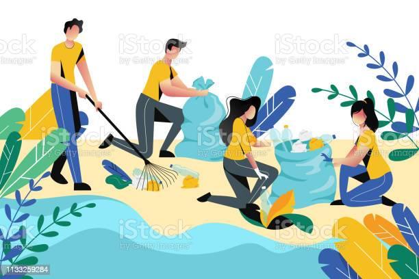 Volunteering charity social concept volunteer people cleaning garbage vector id1133259284?b=1&k=6&m=1133259284&s=612x612&h=jp9 fhbeyfakc76eowatfjbgbnds7sjz o9i4vcjsnw=