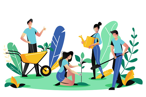 Volunteering, charity social concept. Volunteer people plant trees in park, vector illustration. Ecological lifestyle