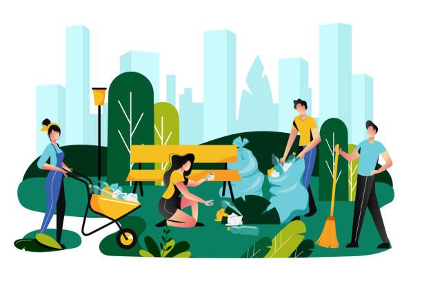 stockillustraties, clipart, cartoons en iconen met vrijwilligerswerk, liefdadigheid sociaal concept. vrijwilliger team schoonmaken vuilnis op gazon van city park, vector illustratie - sociale dienst