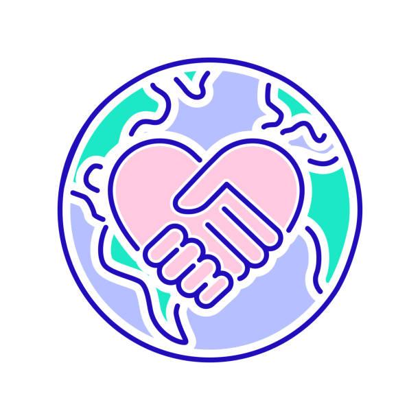 stockillustraties, clipart, cartoons en iconen met pictogram vrijwilligerswerk van de kleurlijn. non-profit gemeenschap. overzichtpictogram voor web-pagina, mobiele app, promo. - non profit