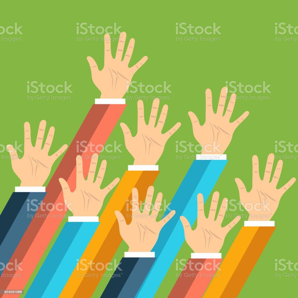 Volunteering concept. Hand raised up. Flat vector illustration vector art illustration