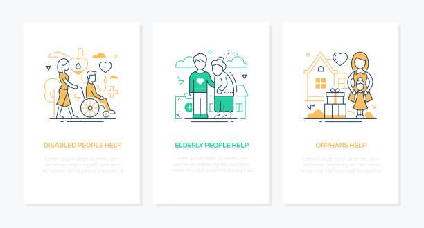 Freiwilligenkonzept - Line-Design-Stil Banner gesetzt – Vektorgrafik