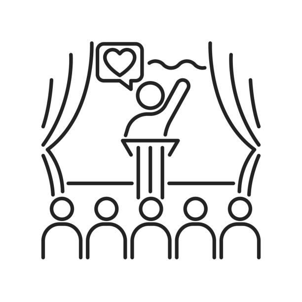 stockillustraties, clipart, cartoons en iconen met vrijwilligerswerk coördinator zwarte lijn pictogram. vrijwilligerswerk training. non-profit organisatie. overzichtpictogram voor web-pagina, mobiele app, promo. - non profit