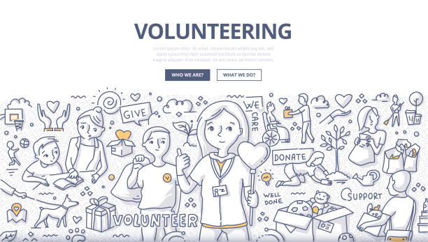 Volunteering Doodle Concept Doodle vector illustration of a volunteers, doing altruistic social activity. Volunteering concept for web banners, hero images, printed materials community drawings stock illustrations