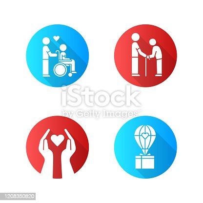 Ícones de glifo de sombra longo de design plano de voluntariado. Projeto de caridade, deficientes e idosos ajudam, assistência humanitária. Ajuda no serviço comunitário. Ilustração da silhueta vetorial
