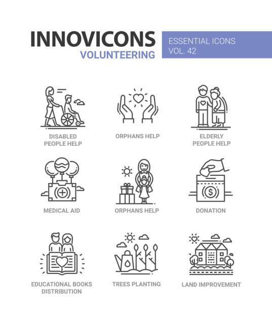 Volunteering - modern vector line design icons set. vector art illustration
