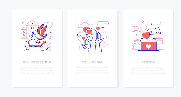 Volunteering - vector line design style banners set vector art illustration
