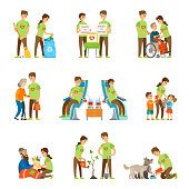 Volunteers and charity set vector isolated icons set. Donate to orphans, blood donation, help elderly people. Feeding homeless and dogs, growing trees