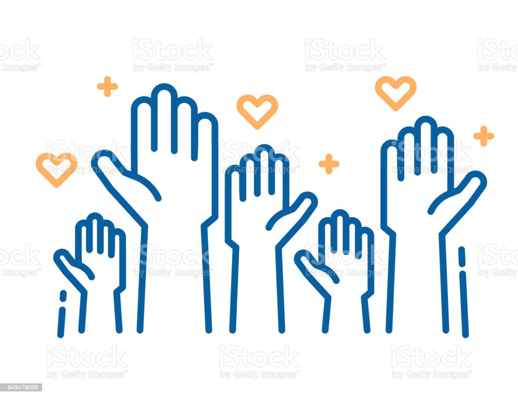 Volunteers and charity work. Raised helping hands. Vector thin line icon illustrations with a crowd of people ready and available to help and contribute. Positive foundation, business, service. royalty-free volunteers and charity work raised helping hands vector thin line icon illustrations with a crowd of people ready and available to help and contribute positive foundation business service stock illustration - download image now