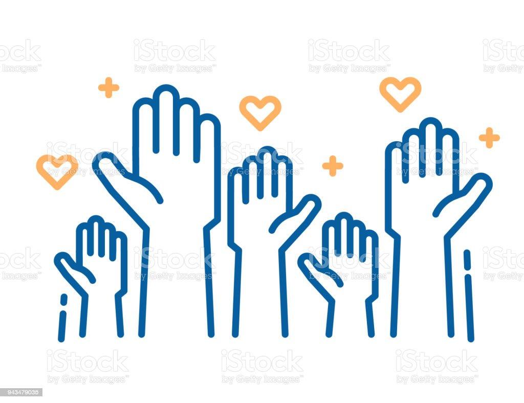 Vrijwilligers en liefdadigheidswerk. Aan de orde gesteld helping hands helping hands. Dunne lijn pictogram vectorillustraties met een menigte van mensen klaar en beschikbaar om te helpen en bij te dragen. Positieve Stichting, business, service. - Royalty-free Altruïsme vectorkunst