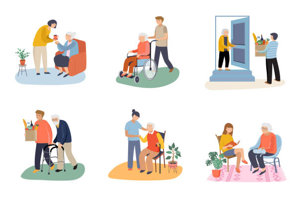 Volunteers during the COVID-19 pandemic - young people taking care of senior people. Helping with household chores, walking, reading books, bringing the grocery, pushing the wheelchair. vector art illustration