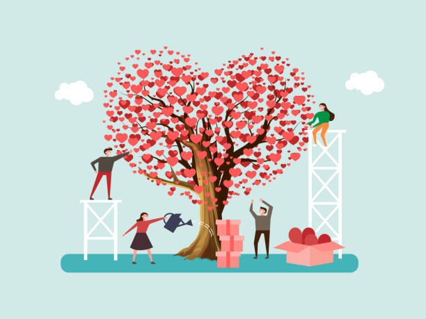 illustrazioni stock, clip art, cartoni animati e icone di tendenza di volunteers grown tree of love and send out care, hearts to people. team help charity and sharing hope. valentine's day. - accudire