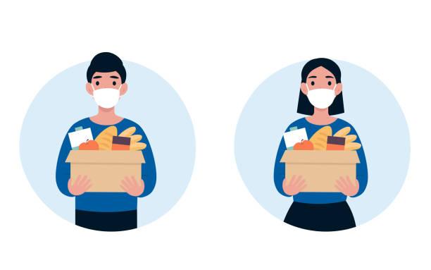 volunteers in medical masks and food vector art illustration