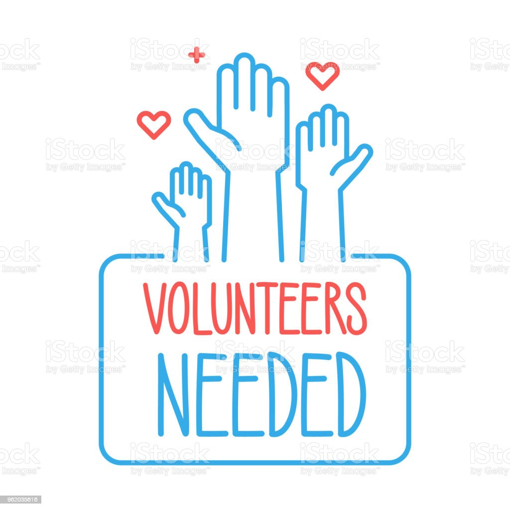 Volunteers needed banner design. Vector illustration for charity, volunteer work, community assistance. Crowd of people ready and available to help and contribute with hands raised. Positive foundation, business, service vector art illustration