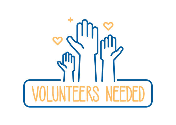 ilustrações de stock, clip art, desenhos animados e ícones de volunteers needed banner design. vector illustration for charity, volunteer work, community assistance. crowd of people ready and available to help and contribute with hands raised. positive foundation, business, service - voluntário