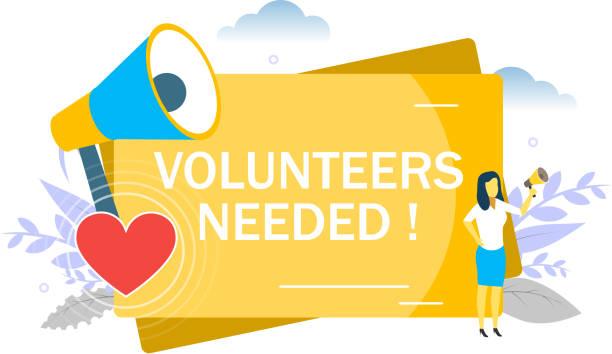 ilustrações de stock, clip art, desenhos animados e ícones de volunteers needed, vector flat style design illustration - coração fraco
