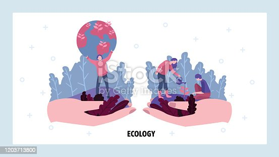 Volunteers plant tree. Ecology and save earth concept. Green nature, environmental concept. Vector web site design template. Landing page website concept illustration.
