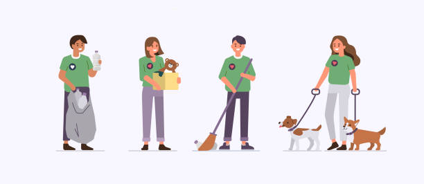 volunteers Group of  Volunteers Working Together. Charity and Donation Concept with Characters. Flat Cartoon Vector Illustration Isolated. sheltering stock illustrations