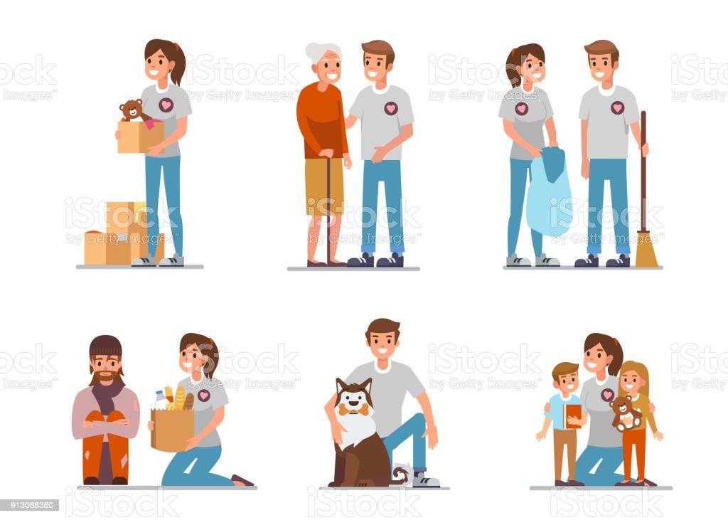 Volunteers royalty-free volunteers stock illustration - download image now