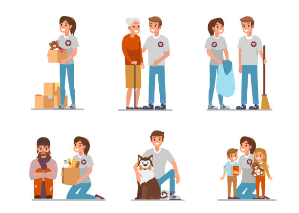Volunteers Volunteers at work. Flat style vector illustration isolated on white background. sheltering stock illustrations