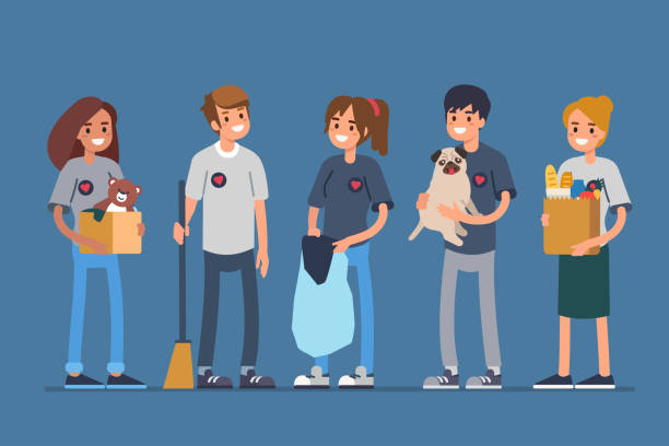 Volunteers Group volunteers standing together. Flat style vector illustration isolated. sheltering stock illustrations