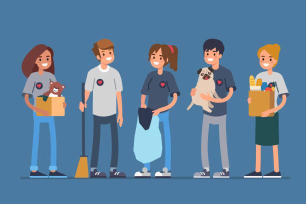 stockillustraties, clipart, cartoons en iconen met vrijwilligers - teenager animal