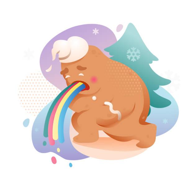 Vomiting Gingerbread Man Vomiting gingerbread man. Negative emotions. Vector illustration of Christmas sticker, seasonal illustration in modern style. decorating a cake stock illustrations