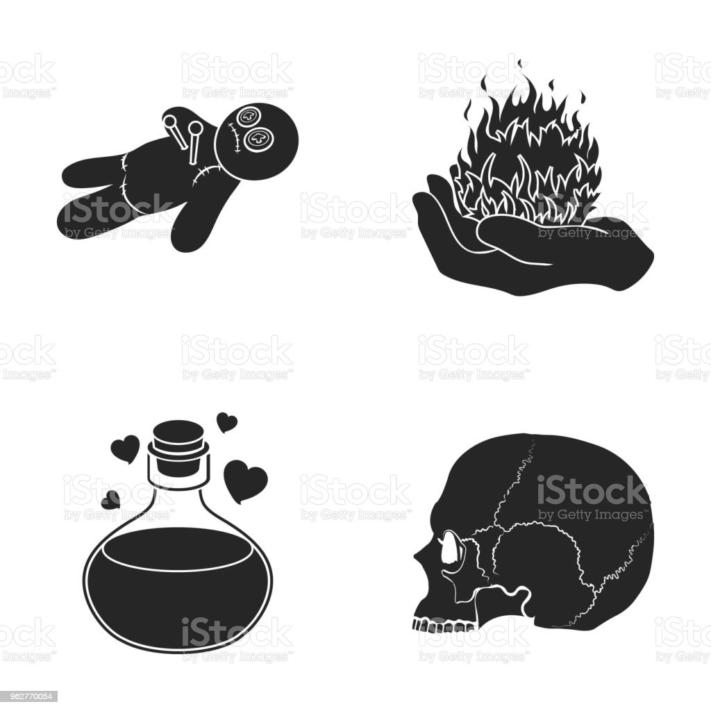 A voodoo doll, a magical fire, a love potion, a skull.Black and white magic set collection icons in black style vector symbol stock illustration web. - arte vettoriale royalty-free di Bambola - Giocattolo