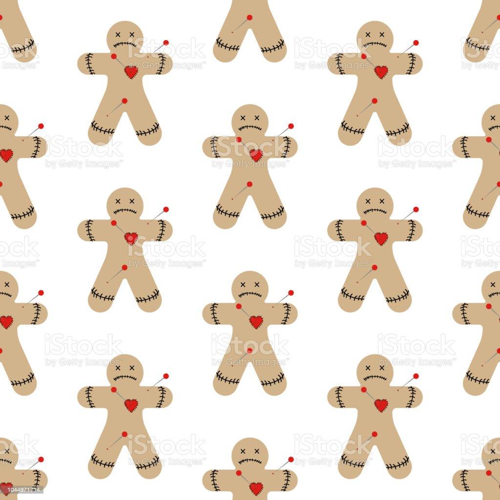 Patrón sin fisuras de muñeco vudú - ilustración de arte vectorial