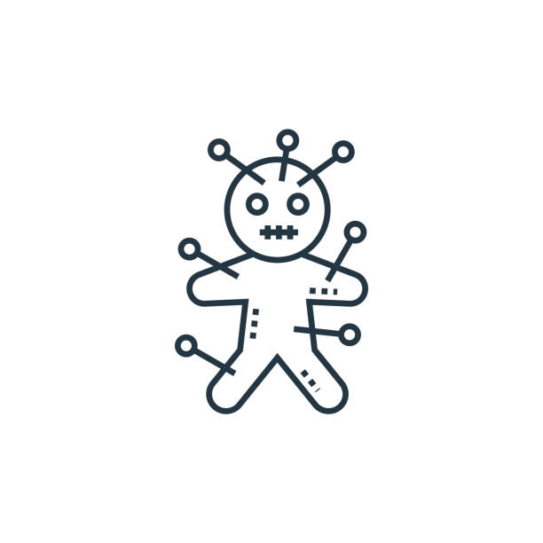voodoo doll vector icon. voodoo doll editable stroke. voodoo doll linear symbol for use on web and mobile apps, logo, print media. Thin line illustration. Vector isolated outline drawing. voodoo doll vector icon. voodoo doll editable stroke. voodoo doll linear symbol for use on web and mobile apps, logo, print media. Thin line illustration. Vector isolated outline drawing. voodoo stock illustrations