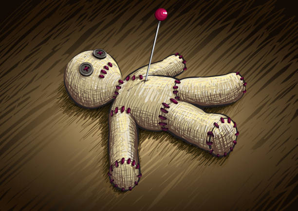 Voodoo doll Vector voodoo doll illustration. All elements are layered separately in vector file. Hi-res jpg file included. voodoo stock illustrations
